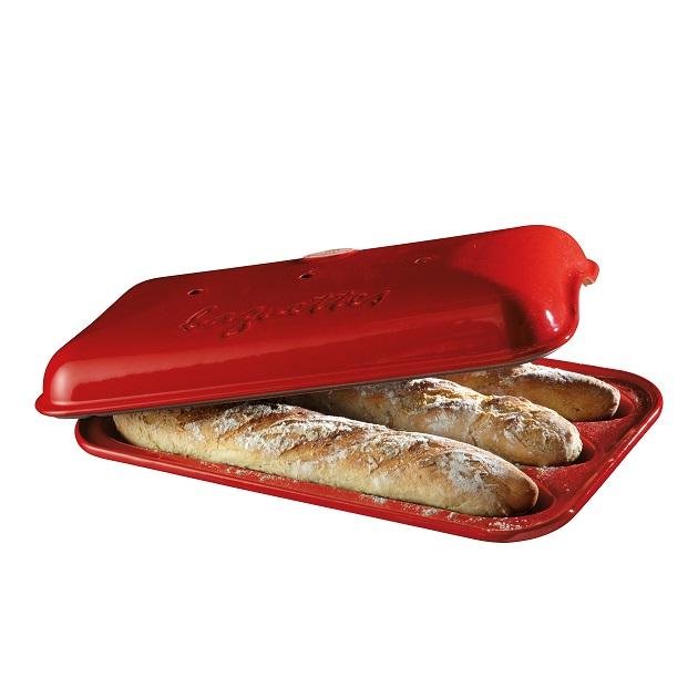 Forma na pečení 3 ks pařížských baget červená Burgundy - Emile Henry