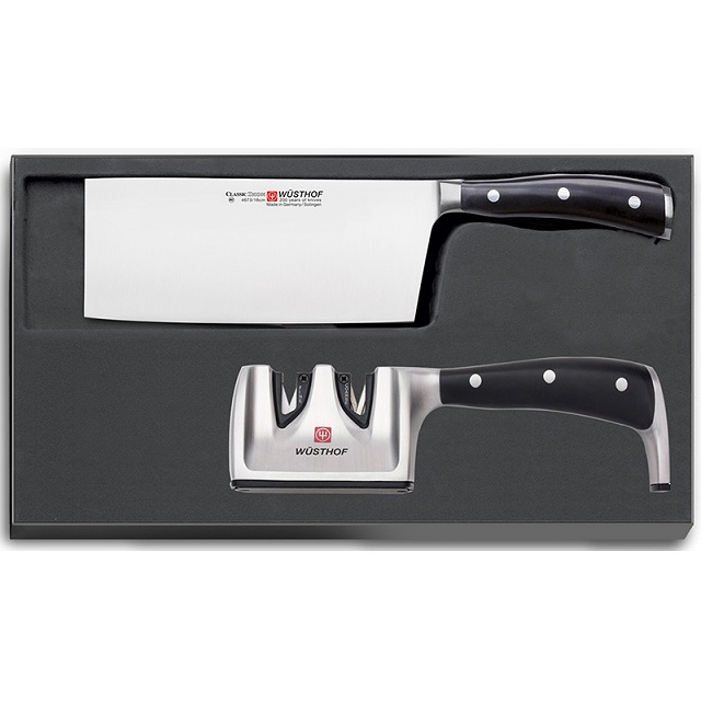Sada Čínský kuchařský nůž CLASSIC IKON + brousek - Wüsthof Dreizack Solingen