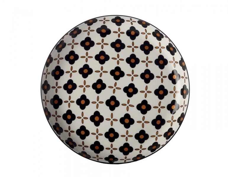Mělký talíř 23 cm, Black Flower, Marigold - Maxwell&Williams