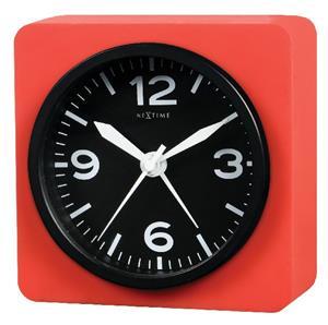 Stolní hodiny s budíkem REAL TIME SILLY červené 9,5 x 9,5 cm - NEXTIME