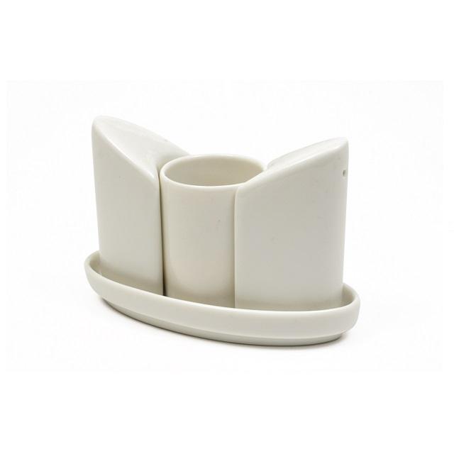 Solnička s pepřenkou a nádobou na párátka, WHITE BASICS - Maxwell&Williams