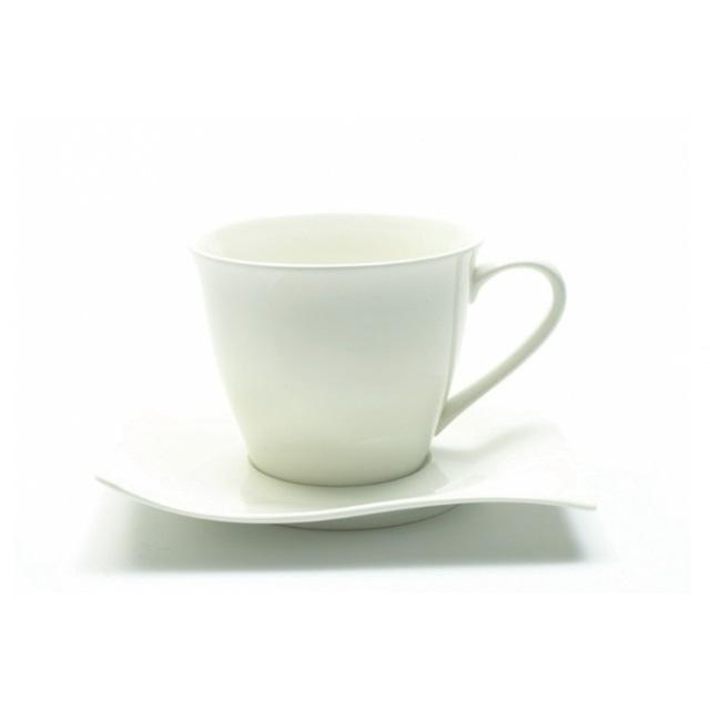 Šálek s podšálkem na cappuccino 230 ml, WHITE BASICS MOTION - Maxwell&Williams