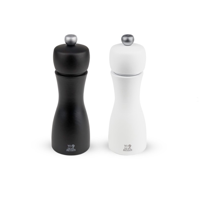 Set mlýnků na pepř/sůl 15 cm bílá/černá TAHITI - PEUGEOT