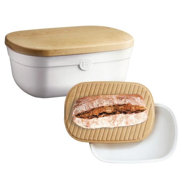 Keramický chlebník s prkénkem 35,5 x 24,5 cm, nugátová - Emile Henry