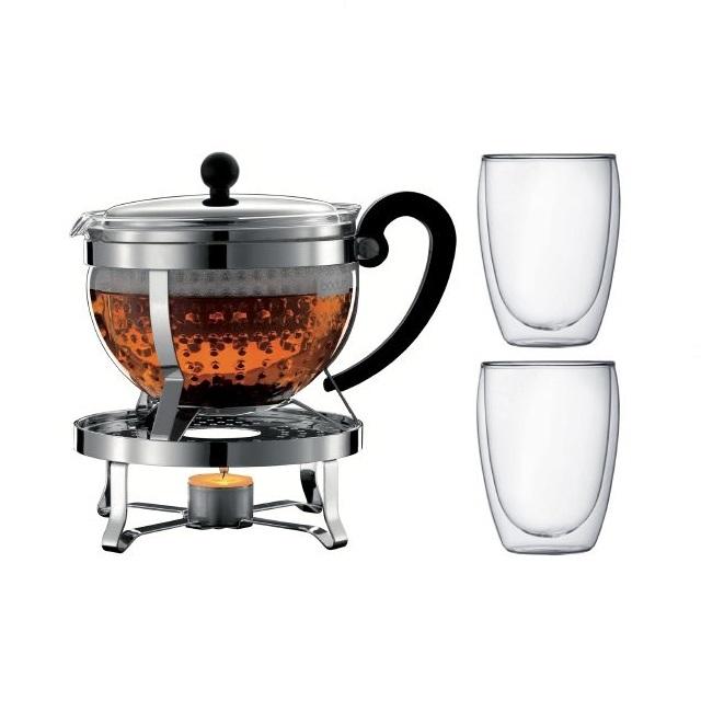 Sada čajová konvice s ohřívačem 1,3 l nerez + 2 sklenice 0,35 l CHAMBORD - BODUM