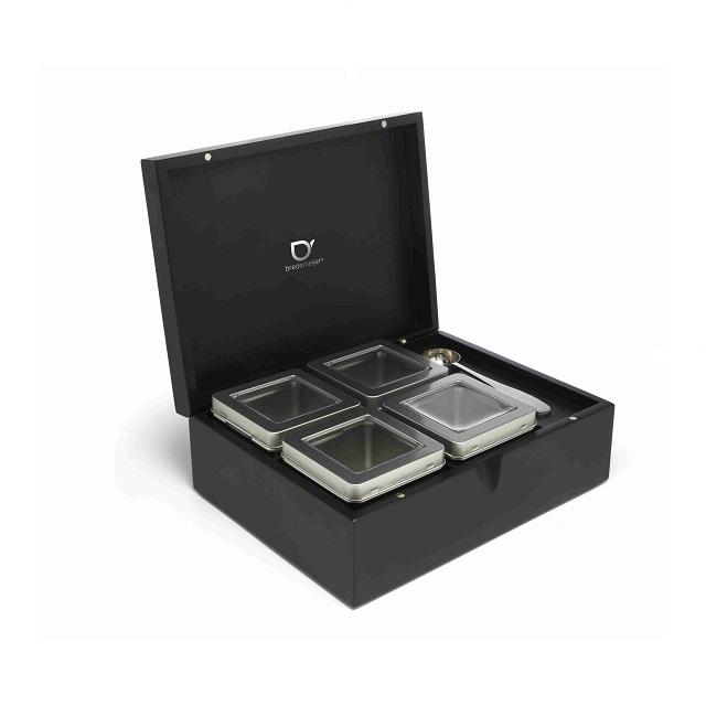 Krabička na čaj s odměrkou + 4 dózy na sypaný čaj - Bredemeijer