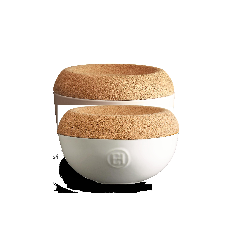 Miska na sůl/cukr s korkovým víkem 0,5l křídová Matte Chalk - Emile Henry