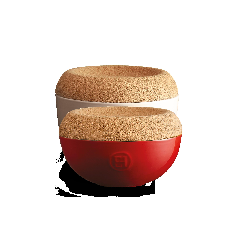 Miska na sůl/cukr s korkovým víkem 0,5l červená Burgundy - Emile Henry