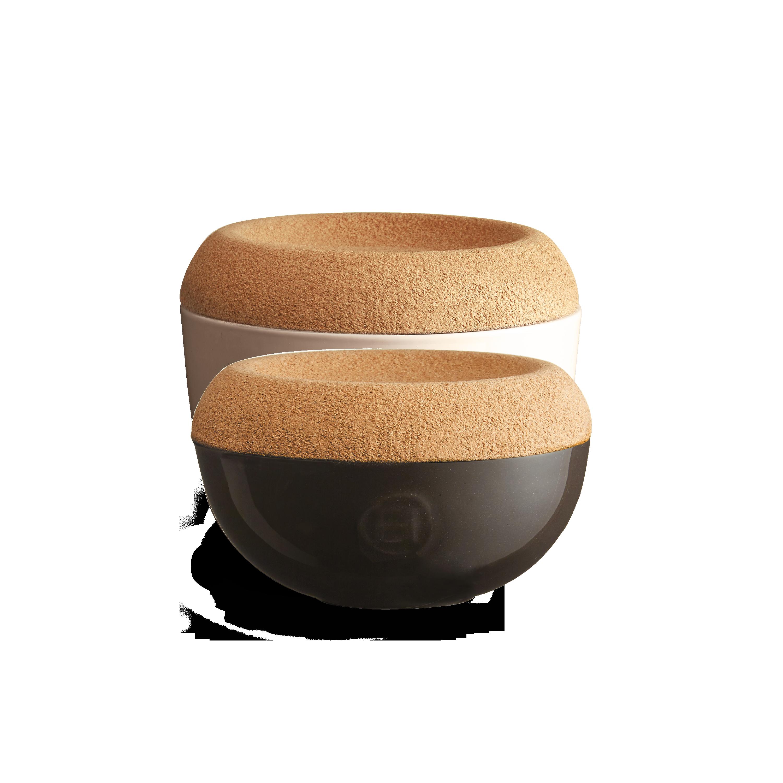 Miska na sůl/cukr s korkovým víkem 0,5l antracitová Charcoal - Emile Henry