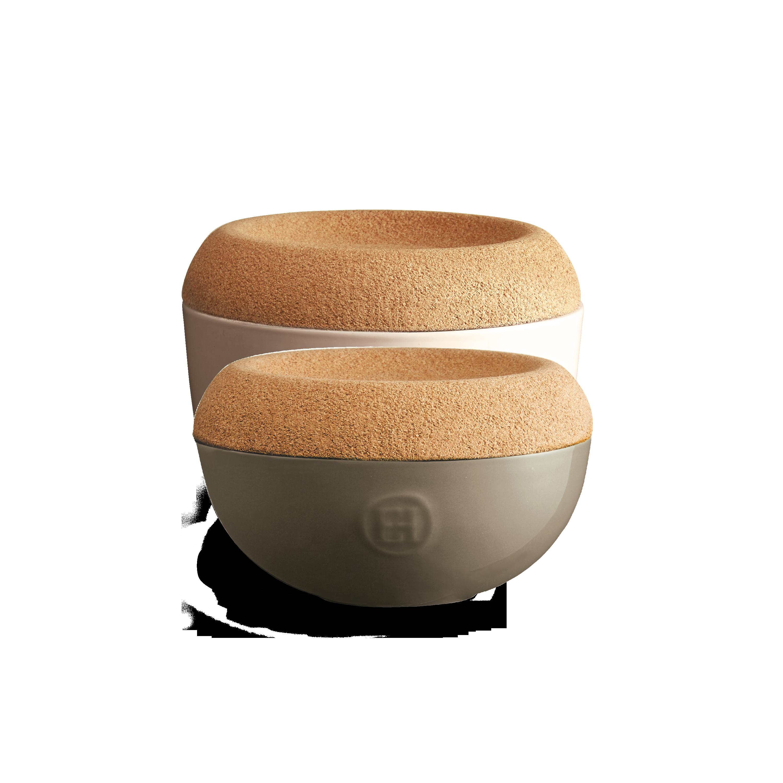 Miska na sůl/cukr s korkovým víkem 0,5l šedohnědá Flint - Emile Henry