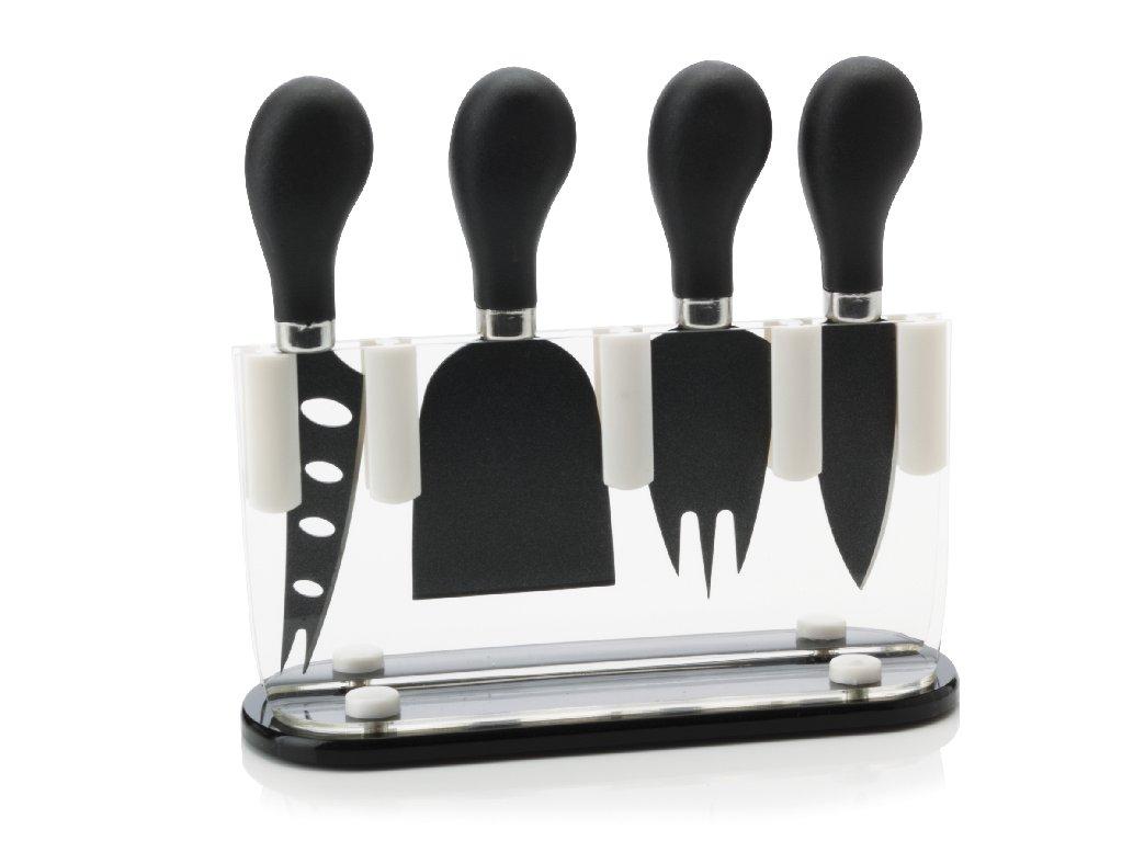 Sada 4 nožů na sýr ve stojanu černá - Maxwell&Williams