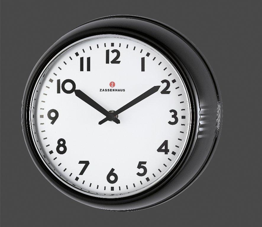 Retro nástěnné hodiny černé ? 24 cm - Zassenhaus