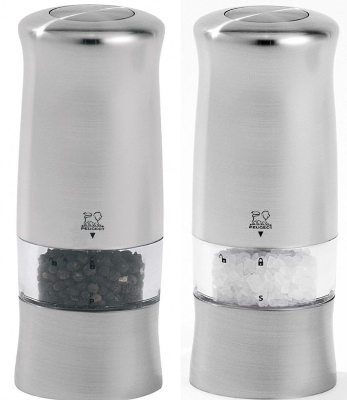 Dárková sada mlýnků na pepř a sůl 14 cm nerez ZELI - Peugeot