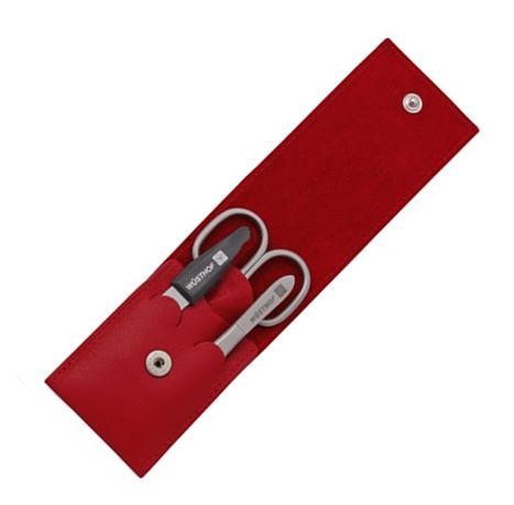 Manikúra 3dílná kožené pouzdro červené - Wüsthof Dreizack Solingen