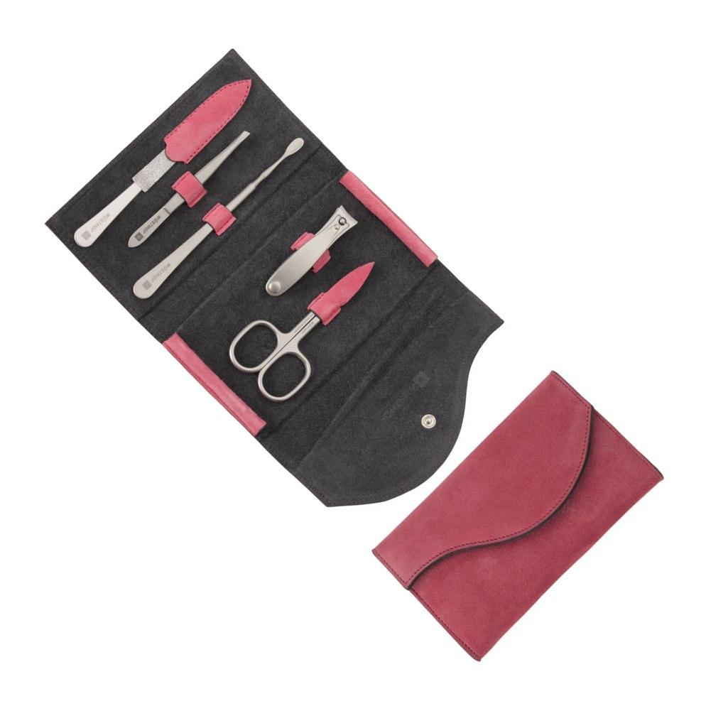 Manikúra 5dílná kožené pouzdro růžové/šedé - Wüsthof Dreizack Solingen